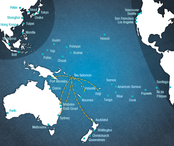 Carte Australie Fidji.Vols Intra Pacifique Pacifique A La Carte